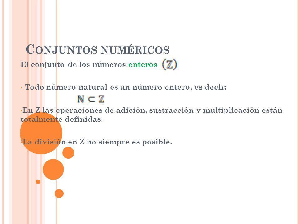Conjuntos numéricos El conjunto de los números enteros