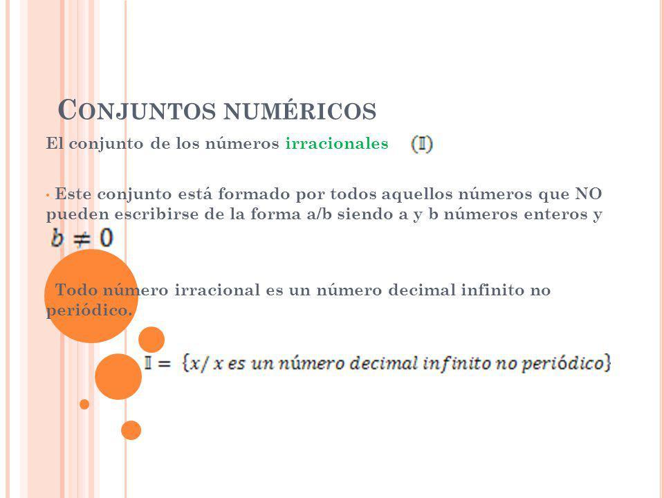Conjuntos numéricos El conjunto de los números irracionales