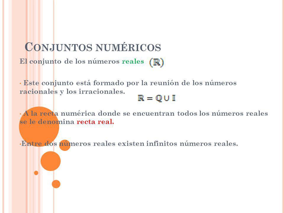 Conjuntos numéricos El conjunto de los números reales