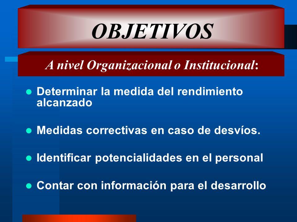 A nivel Organizacional o Institucional: