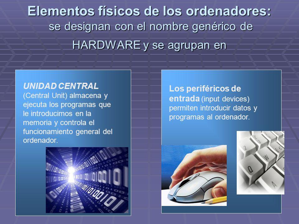 Elementos físicos de los ordenadores: se designan con el nombre genérico de HARDWARE y se agrupan en