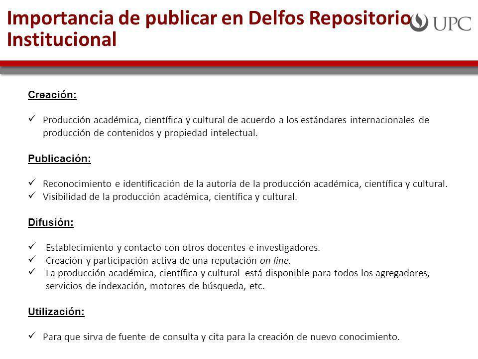 Importancia de publicar en Delfos Repositorio Institucional