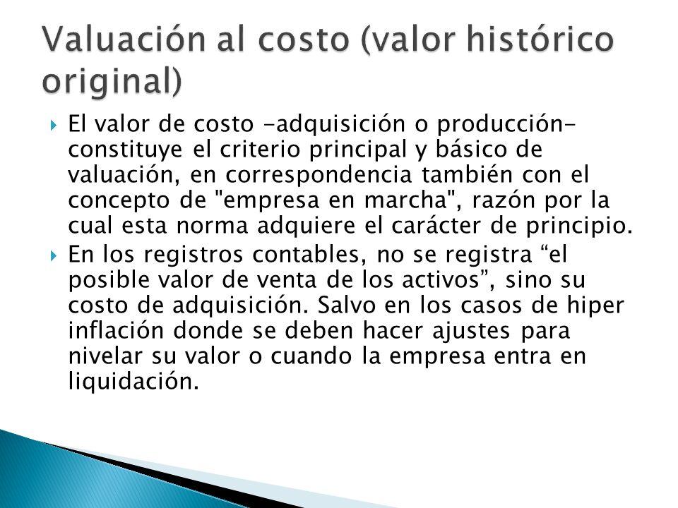 Valuación al costo (valor histórico original)