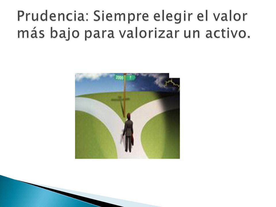 Prudencia: Siempre elegir el valor más bajo para valorizar un activo.