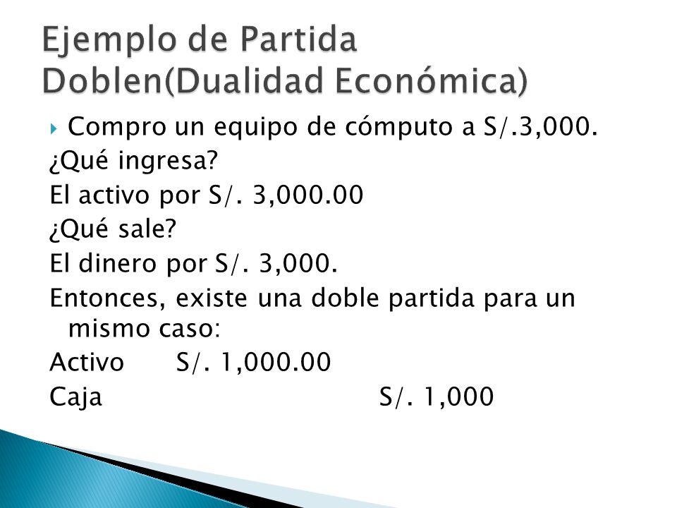 Ejemplo de Partida Doblen(Dualidad Económica)