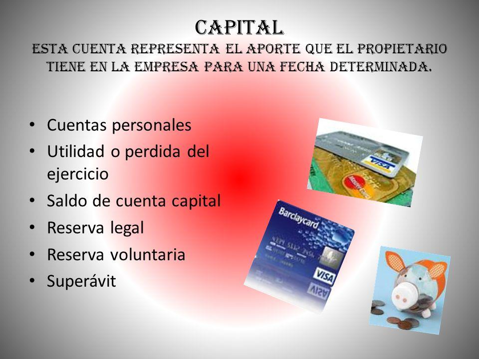 CAPITAL Esta cuenta representa el aporte que el propietario tiene en la empresa para una fecha determinada.