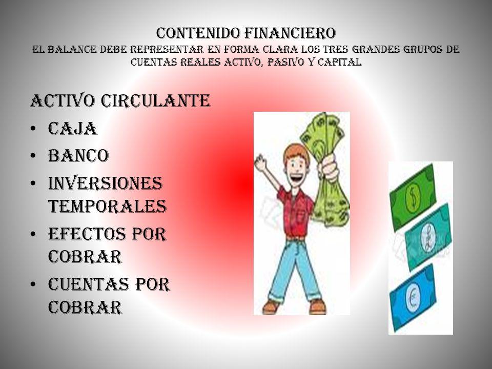 Inversiones temporales Efectos por cobrar Cuentas por cobrar