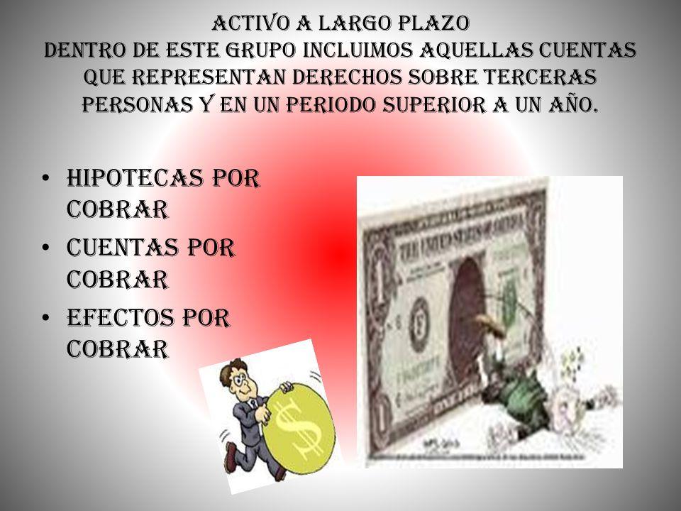 Hipotecas por cobrar Cuentas por cobrar Efectos por cobrar
