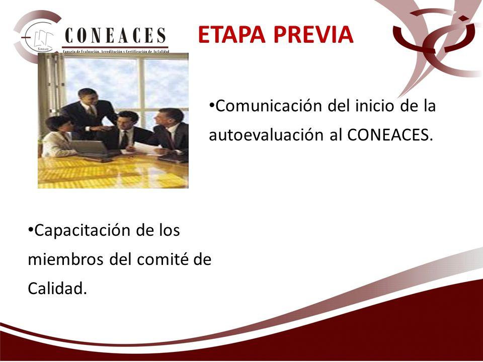 ETAPA PREVIA Comunicación del inicio de la autoevaluación al CONEACES.