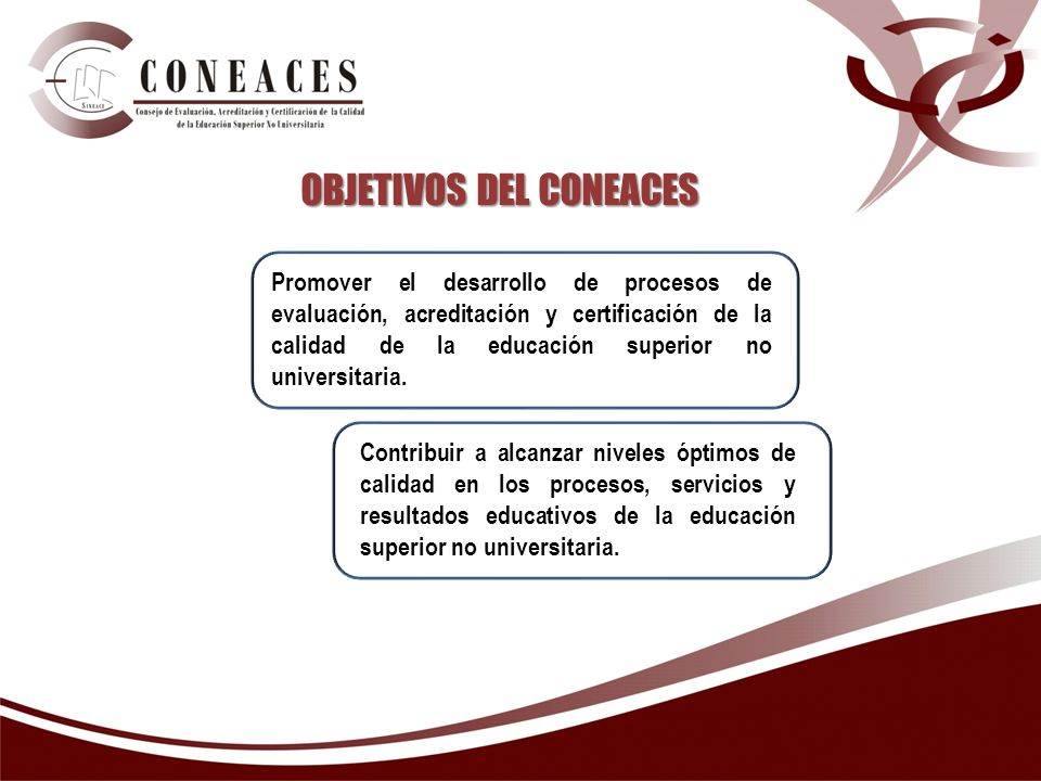 OBJETIVOS DEL CONEACES