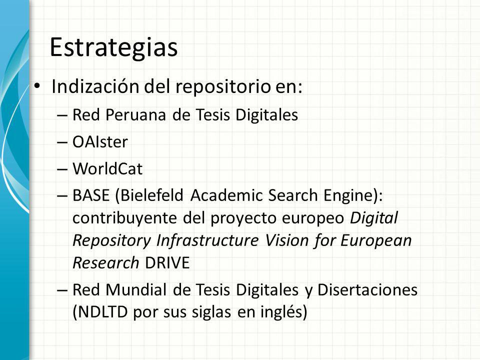 Estrategias Indización del repositorio en: