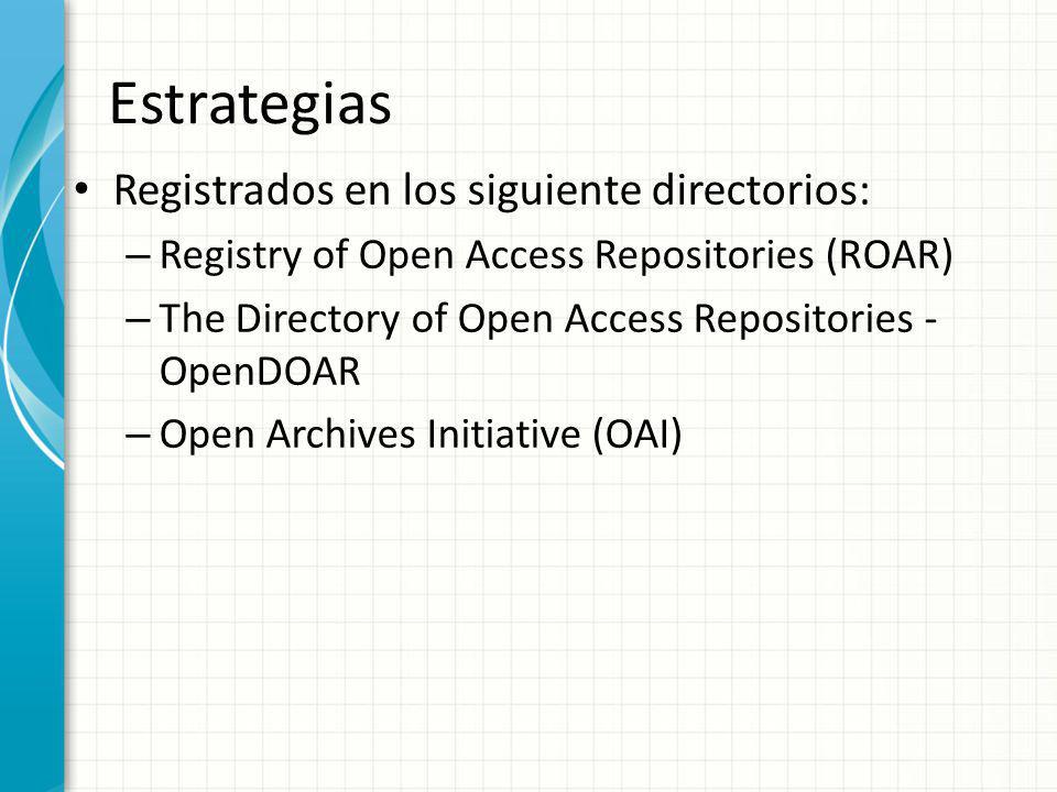 Estrategias Registrados en los siguiente directorios: