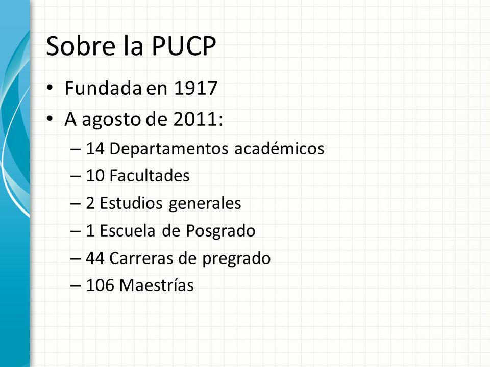 Sobre la PUCP Fundada en 1917 A agosto de 2011: