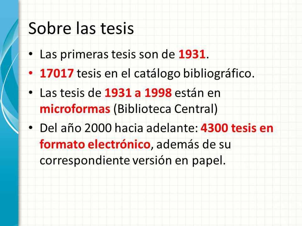 Sobre las tesis Las primeras tesis son de 1931.