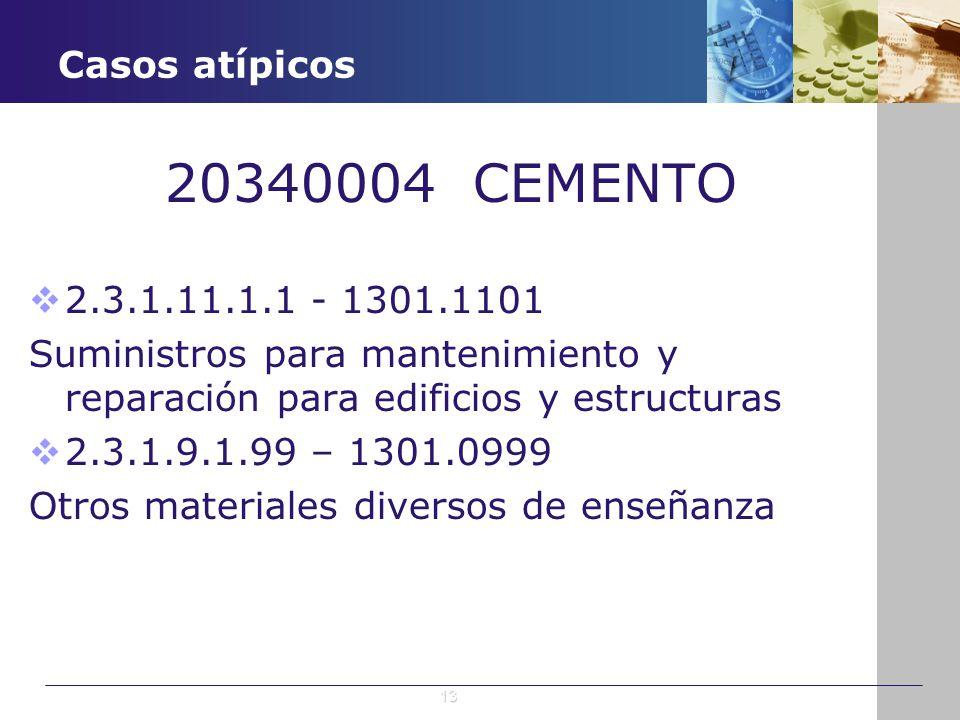 20340004 CEMENTO Casos atípicos 2.3.1.11.1.1 - 1301.1101