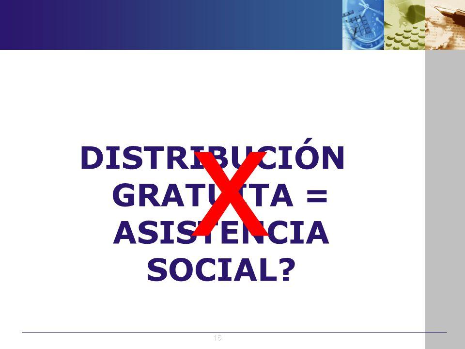 DISTRIBUCIÓN GRATUITA = ASISTENCIA SOCIAL