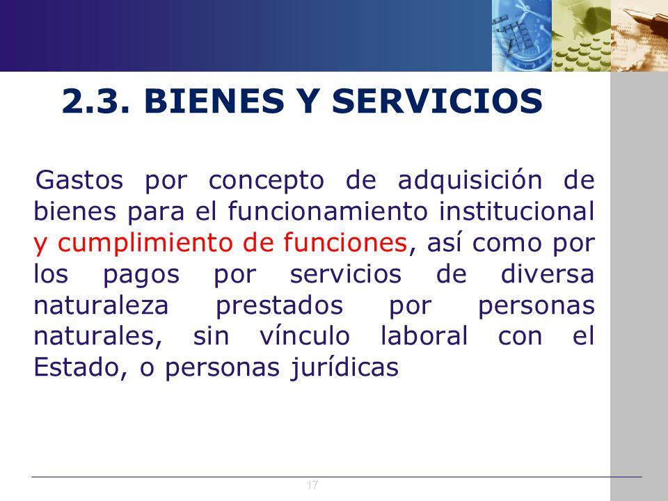 2.3. BIENES Y SERVICIOS