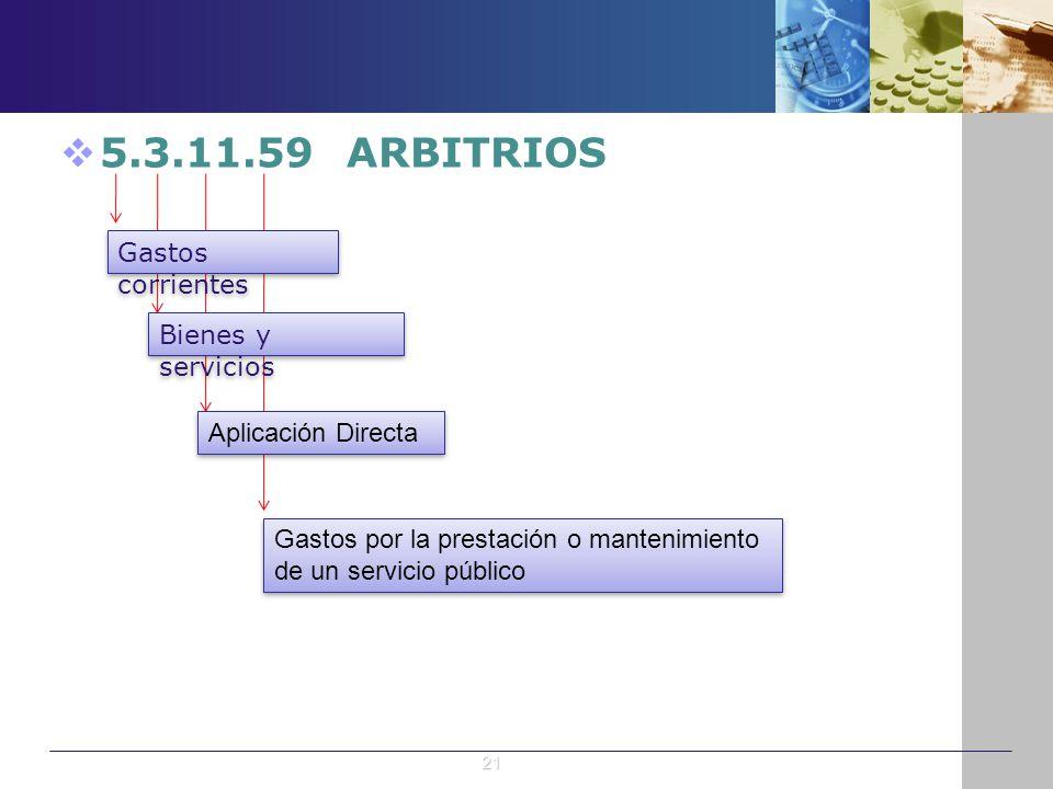 5.3.11.59 ARBITRIOS Gastos corrientes Bienes y servicios