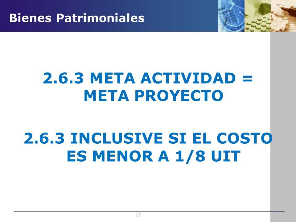 2.6.3 META ACTIVIDAD = META PROYECTO