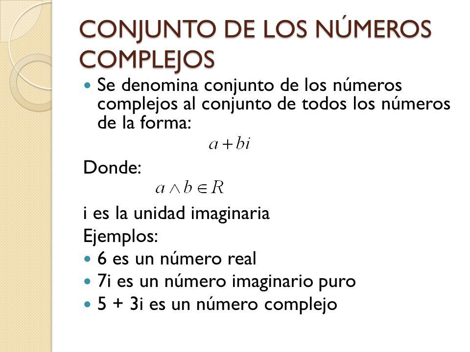 CONJUNTO DE LOS NÚMEROS COMPLEJOS