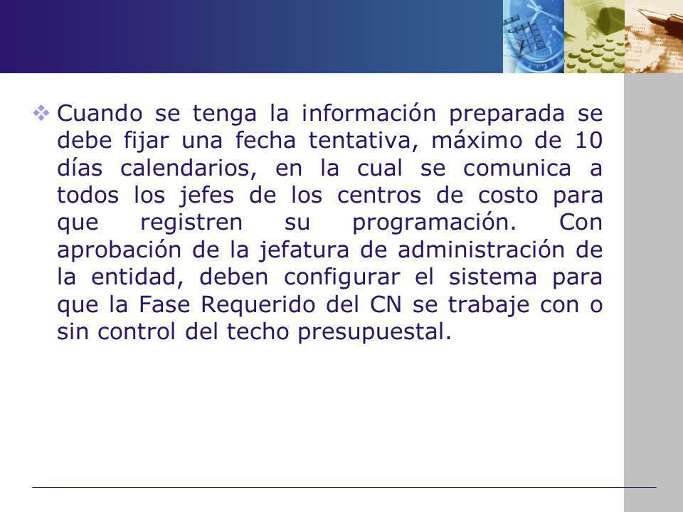 Cuando se tenga la información preparada se debe fijar una fecha tentativa, máximo de 10 días calendarios, en la cual se comunica a todos los jefes de los centros de costo para que registren su programación.