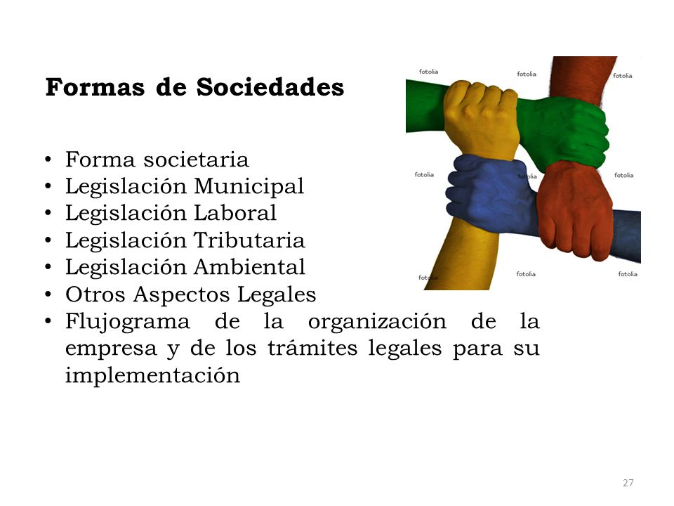 Formas de Sociedades Forma societaria Legislación Municipal