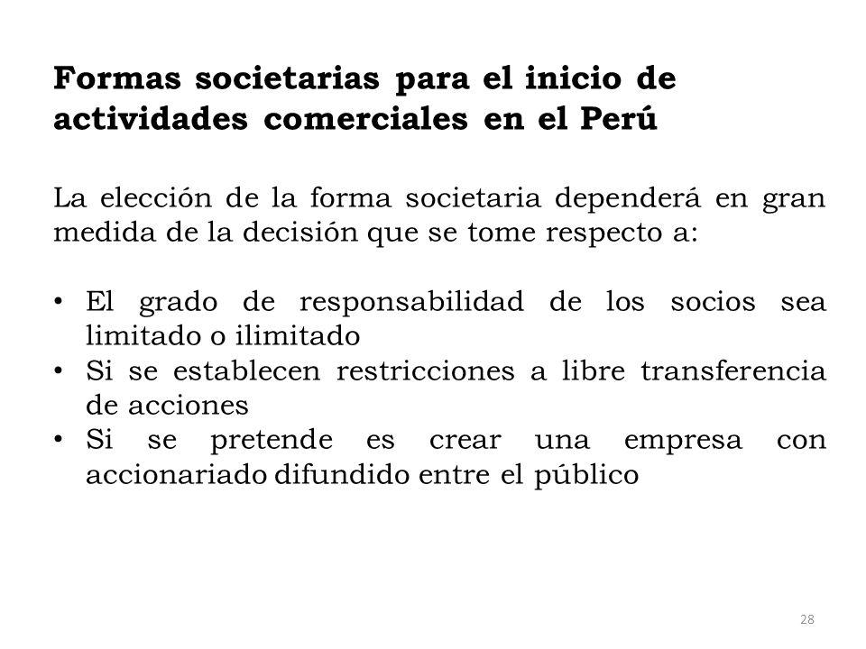 Formas societarias para el inicio de actividades comerciales en el Perú