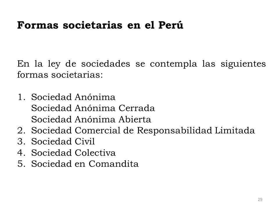 Formas societarias en el Perú