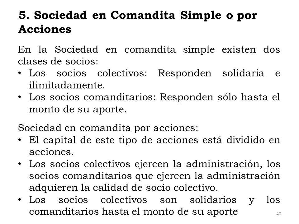 5. Sociedad en Comandita Simple o por Acciones