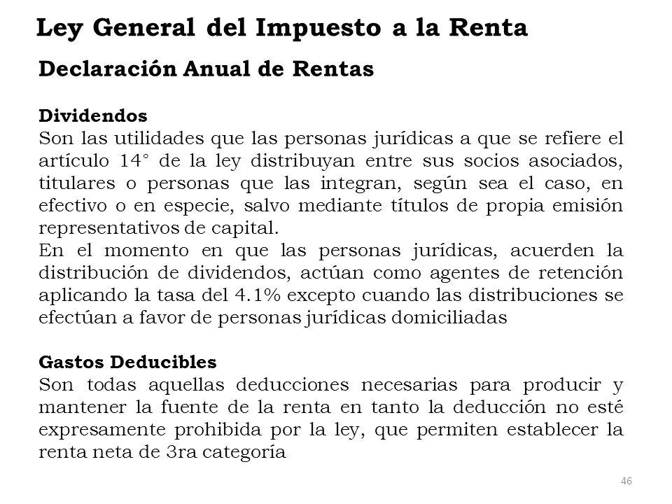 Ley General del Impuesto a la Renta