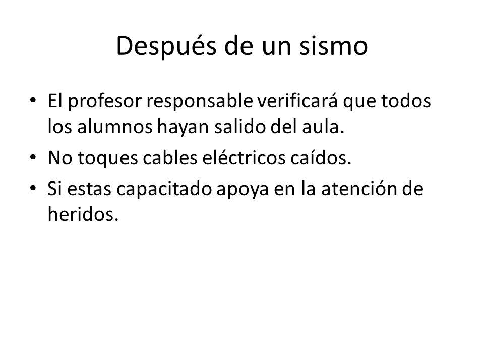 Después de un sismo El profesor responsable verificará que todos los alumnos hayan salido del aula.