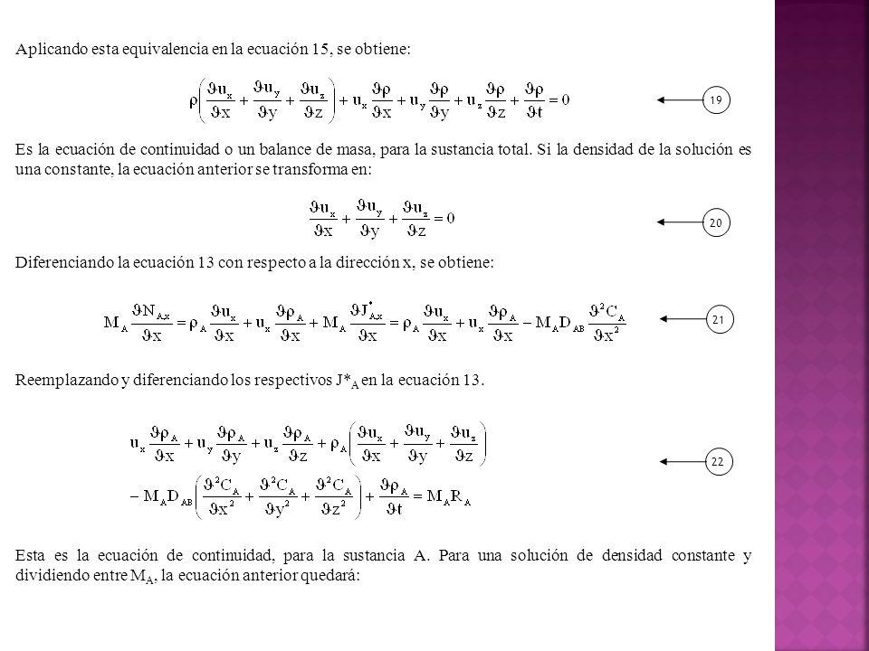 Aplicando esta equivalencia en la ecuación 15, se obtiene: