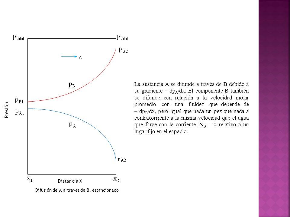 Distancia X Presión. Difusión de A a través de B, estancionado. A.