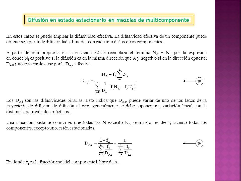 Difusión en estado estacionario en mezclas de multicomponente