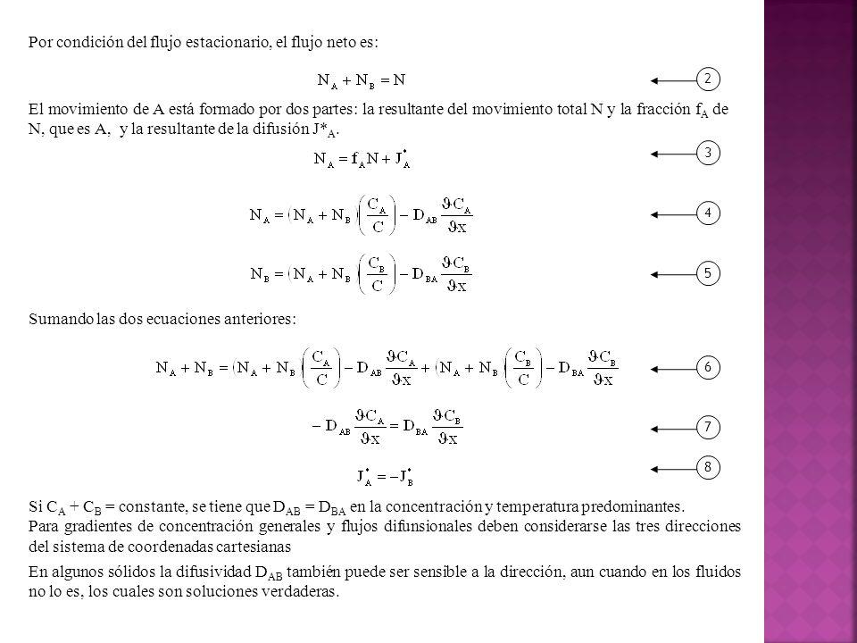 Por condición del flujo estacionario, el flujo neto es:
