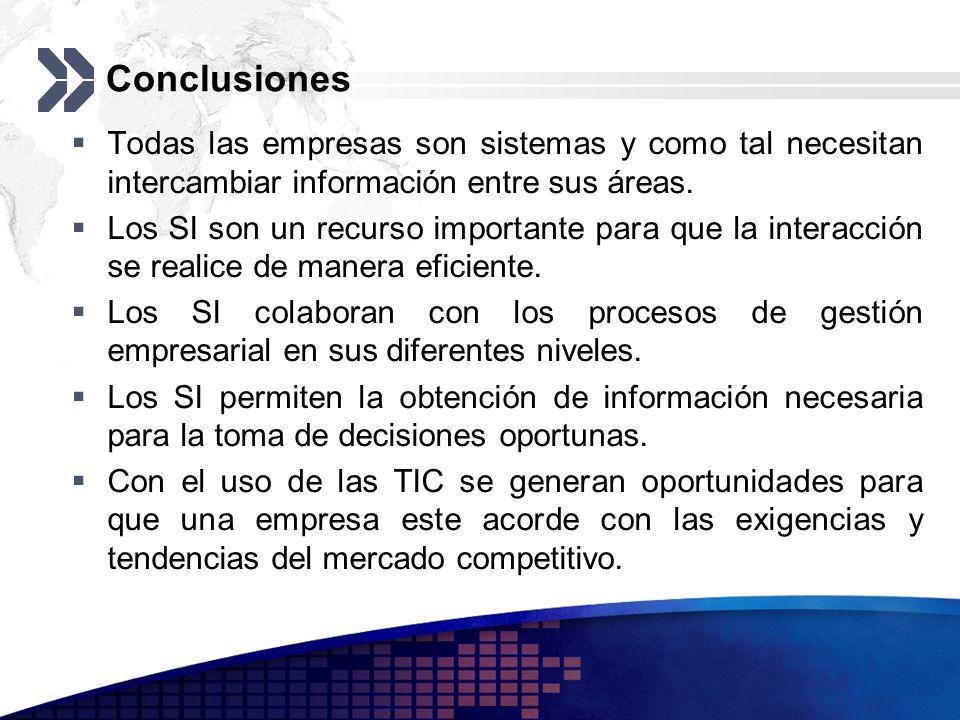 Conclusiones Todas las empresas son sistemas y como tal necesitan intercambiar información entre sus áreas.