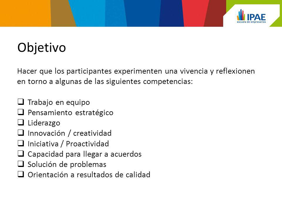 Objetivo Hacer que los participantes experimenten una vivencia y reflexionen. en torno a algunas de las siguientes competencias: