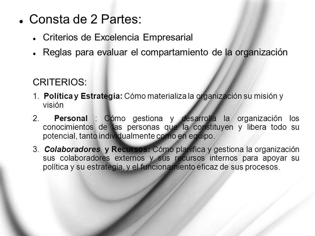 Consta de 2 Partes: Criterios de Excelencia Empresarial