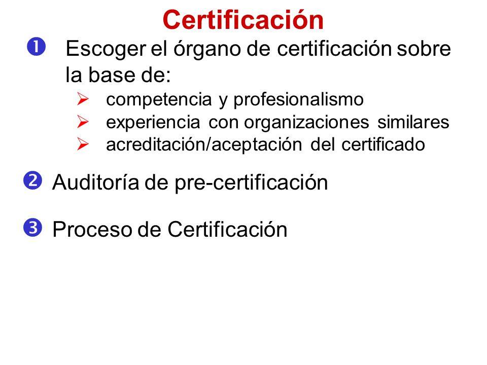Certificación Escoger el órgano de certificación sobre la base de: