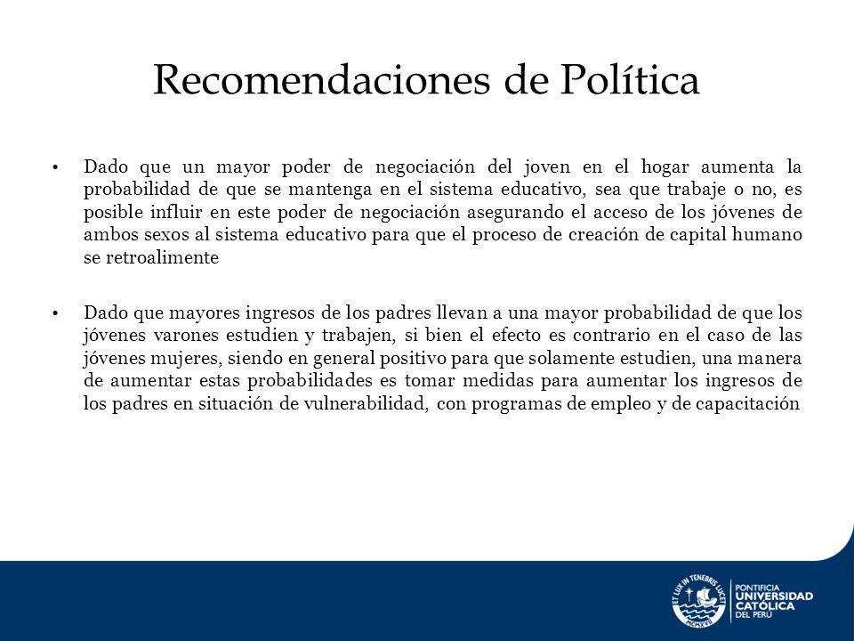 Recomendaciones de Política