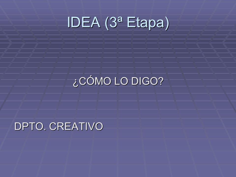 IDEA (3ª Etapa) ¿CÓMO LO DIGO DPTO. CREATIVO