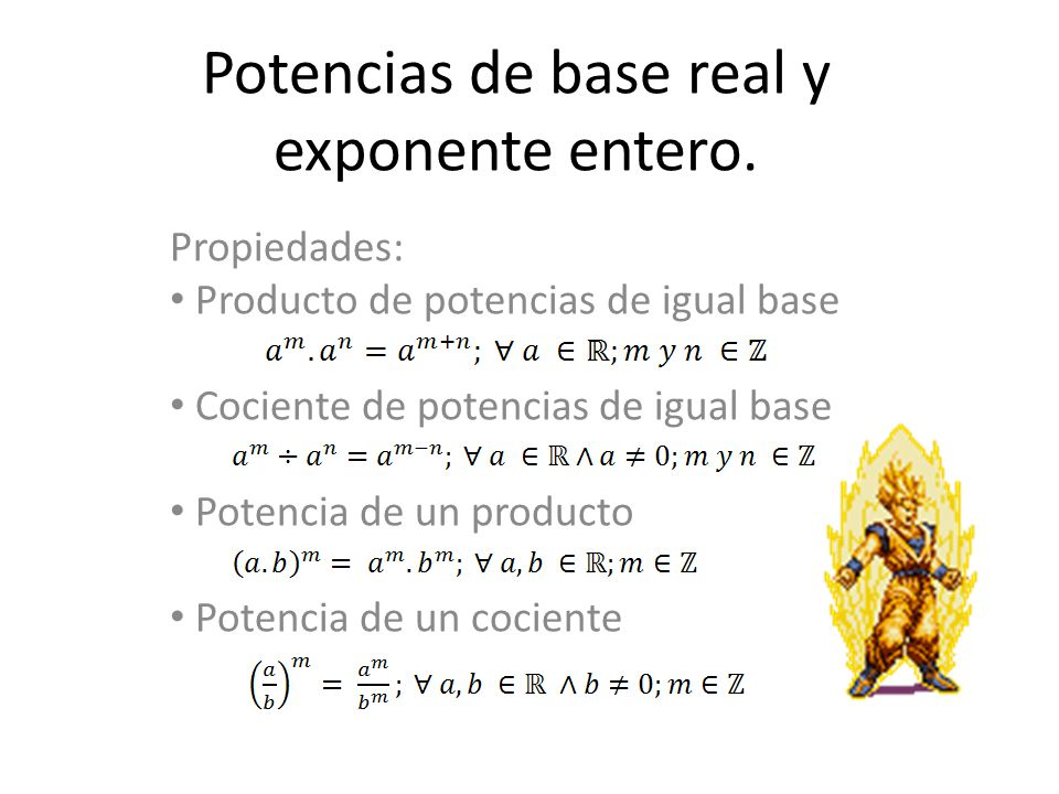 Potencias de base real y exponente entero.