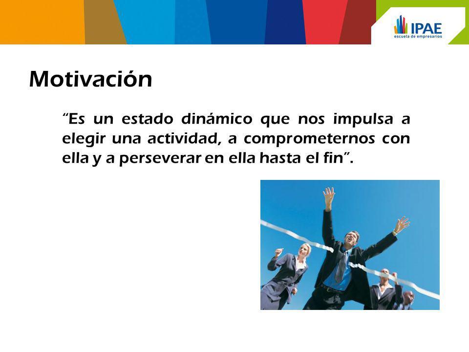 Motivación Es un estado dinámico que nos impulsa a elegir una actividad, a comprometernos con ella y a perseverar en ella hasta el fin .