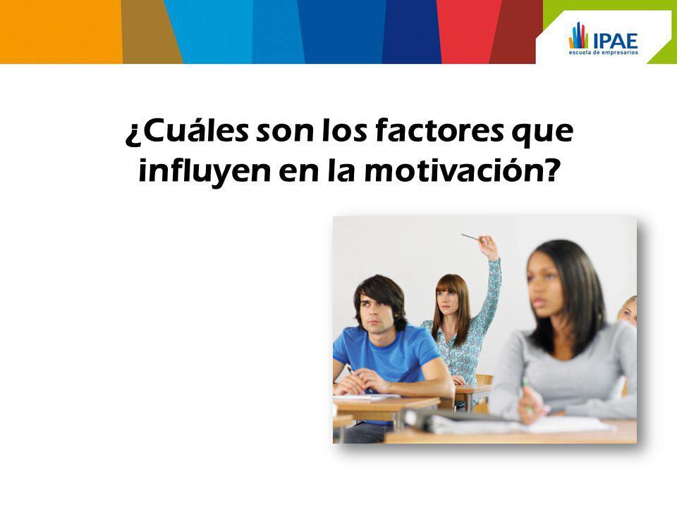 ¿Cuáles son los factores que influyen en la motivación