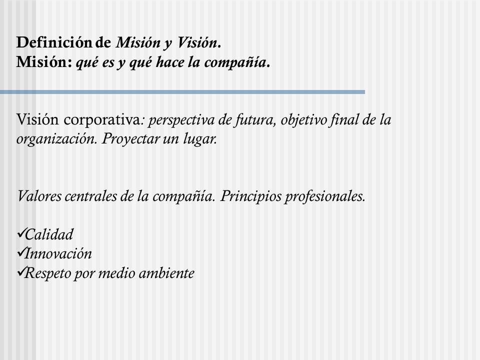 Definición de Misión y Visión.