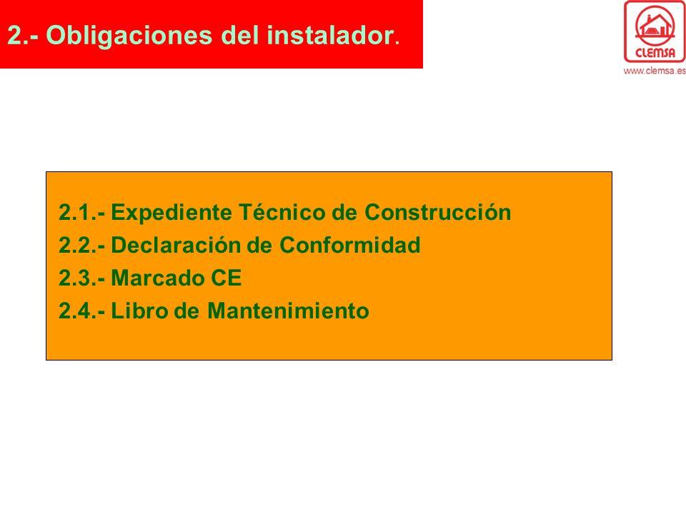 2.- Obligaciones del instalador.