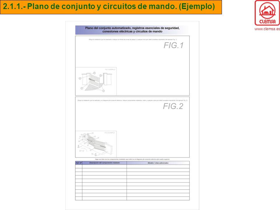 2.1.1.- Plano de conjunto y circuitos de mando. (Ejemplo)