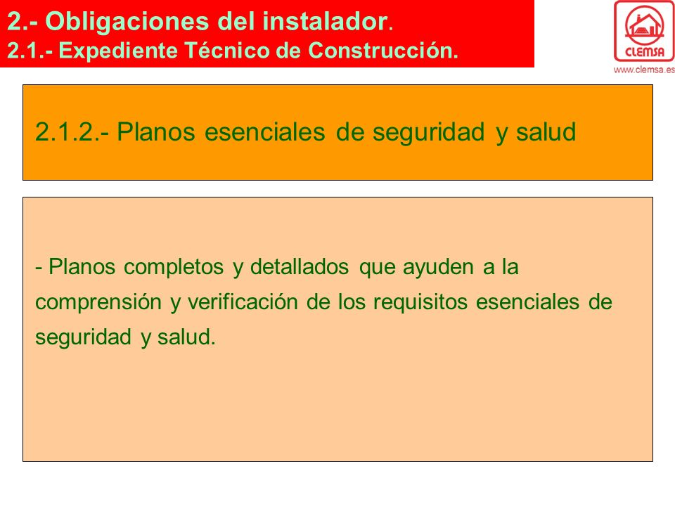 Obligaciones del instalador.