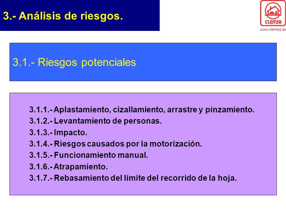 3.- Análisis de riesgos. 3.1.- Riesgos potenciales