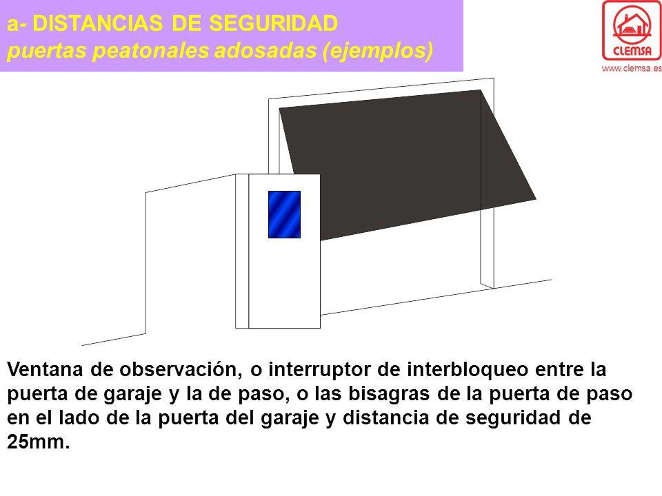 a- DISTANCIAS DE SEGURIDAD puertas peatonales adosadas (ejemplos)